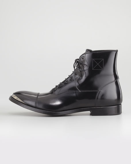 Etched-Toe Lace-Up Combat Boot