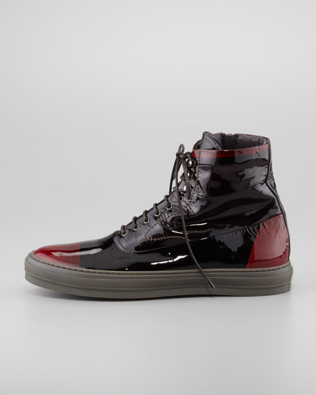 Two-Tone Mercury-Dyed Patent High-Top