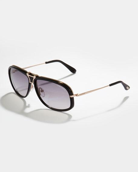 Robbie Navigator/Aviator Sunglasses, Tortoise/Black