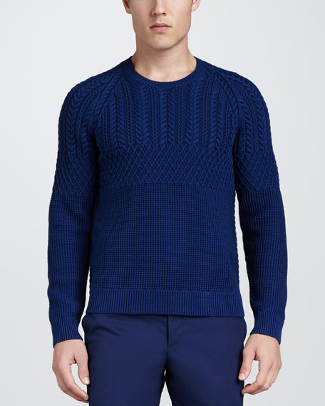 Cable-Knit Sweater, Bright Navy Blue
