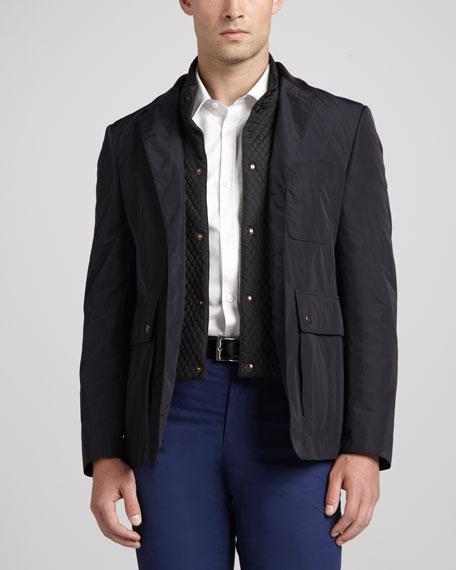 Tech-Fabric Sport Coat, Navy