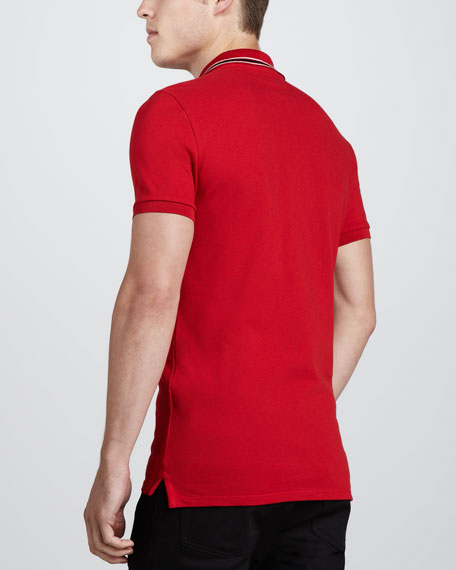 Stripe-Collar Pique Polo, Red