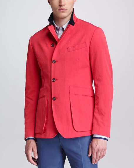 Asymmetric Button-Front Jacket, Red