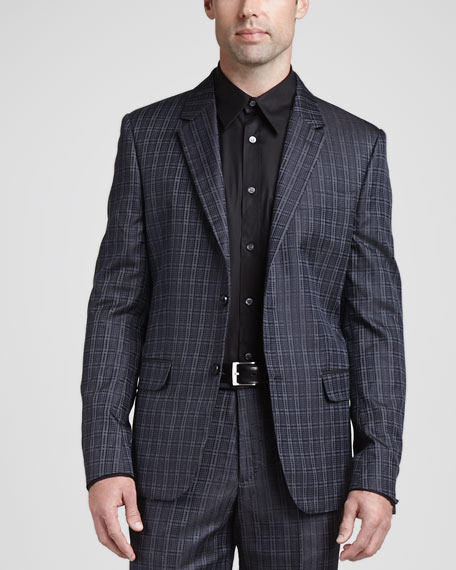 Houndstooth Jacquard Two-Button Jacket, Charcoal