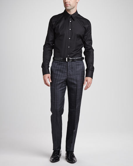 Houndstooth Jacquard Suit Pants, Charcoal
