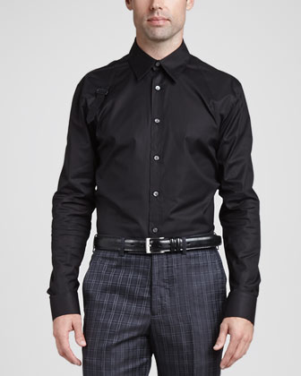 Stretch Poplin Harness Shirt, Black