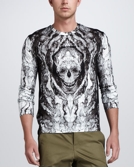 Skull-Print Long-Sleeve Tee, White/Gray
