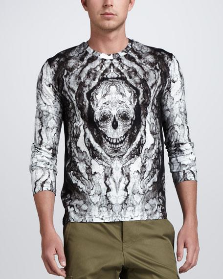 Skull-Print Long-Sleeve Tee, White/Gray