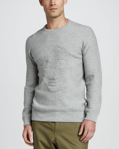 Textured Skull Sweater, Gray