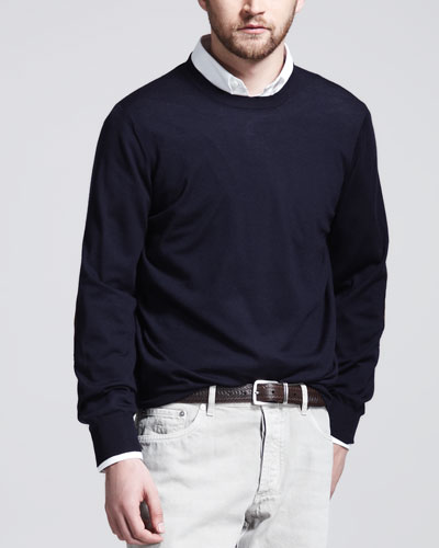 Fine-Gauge Knit Elbow-Patch Sweater, Navy