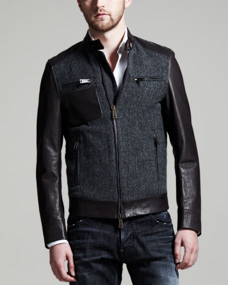 Herringbone & Leather Bomber Jacket, Dark Gray