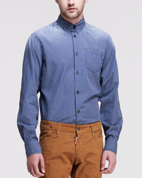 Dsquared2 check tab collar shirt with elbow patches blue for Snap tab collar shirt