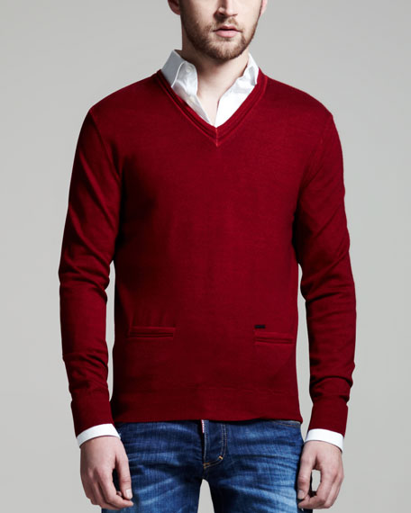 Elbow-Patch V-Neck Sweater, Bordeaux