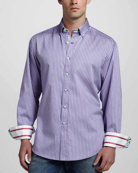 Tanjung Long-Sleeve Sport Shirt, Purple