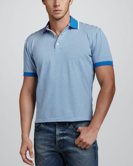 Overwash Fine Striped Polo, Blue