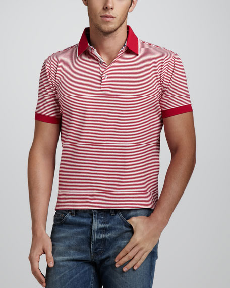 Overwash Fine Striped Polo, Red