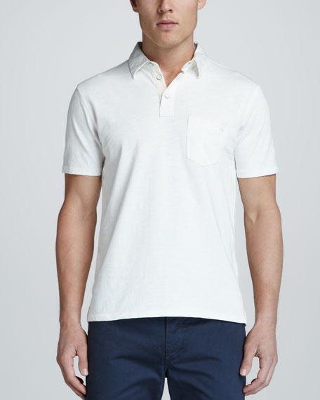 Jersey Pocket Polo, White