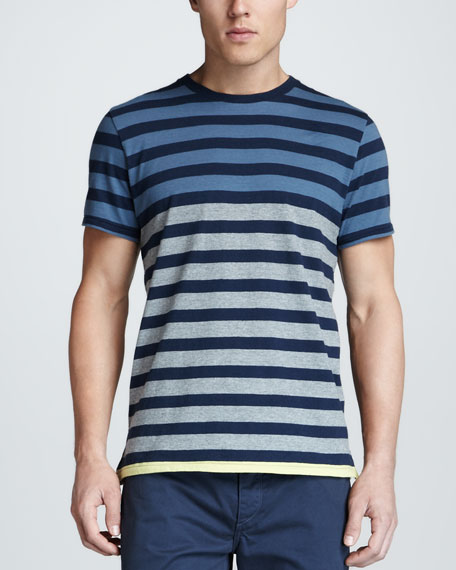 Colorblock Stripe Tee, Navy