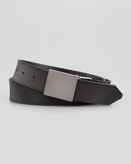 Men's Check-Embossed Belt, Black