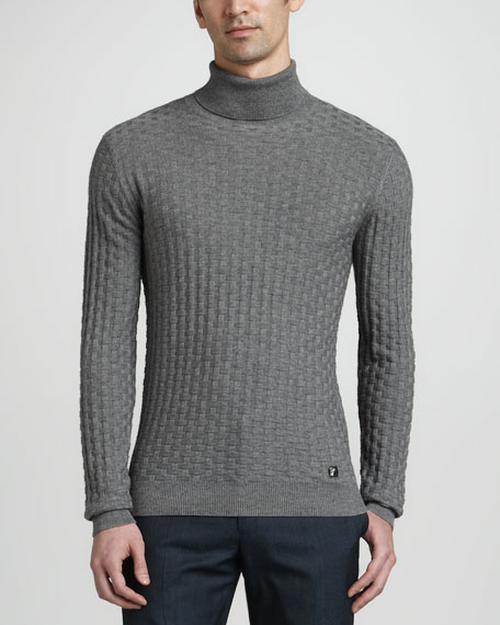 Basketweave Turtleneck Sweater, Gray