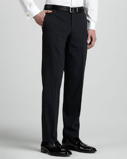 Versace Collection Tuxedo Pants with Satin Side-Stripe, Black