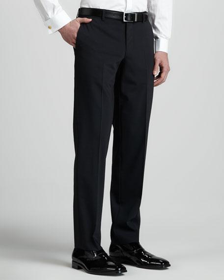 Tuxedo Pants with Satin Side-Stripe, Black