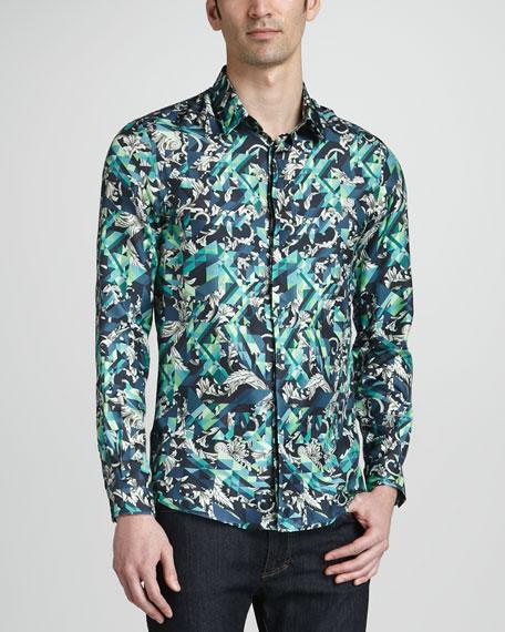Geometric Vine-Print Silk Shirt, Green/Black