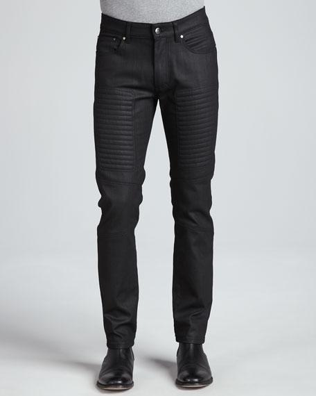 Slim-Fit Moto Denim, Black