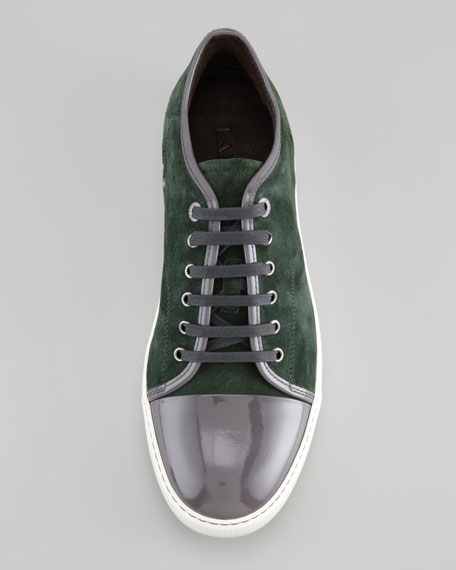 Suede Patent-Toe Low-Top Sneaker