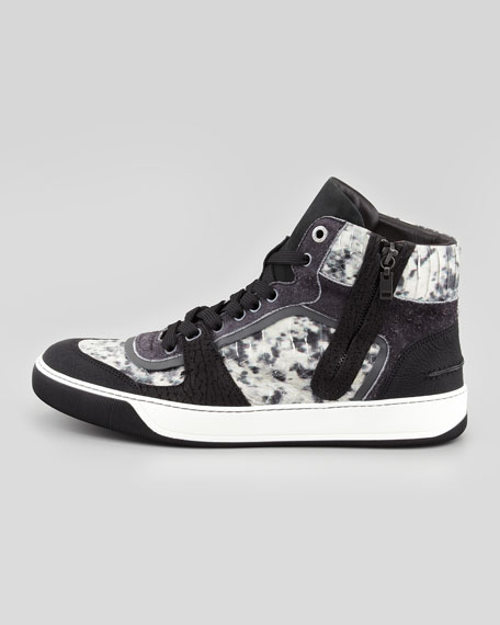 Snake-Embossed High-Top Sneaker, Gray/Black