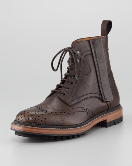 Leather Brogue Combat Boot