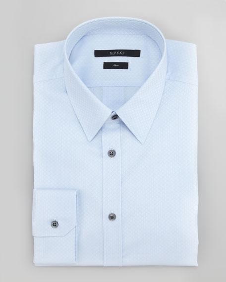 Diamante Slim-Fit Dress Shirt, Light Blue