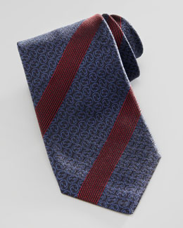 Gucci Interlocking-G Striped Silk Tie, Navy/Red