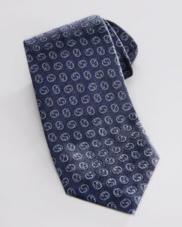 Gucci Interlocking G Silk Tie, Navy