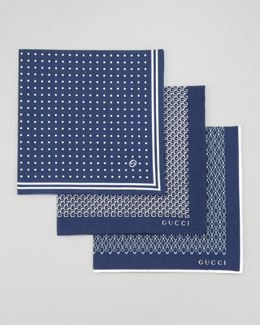 Gucci Set of 3 Pocket Squares, Blue