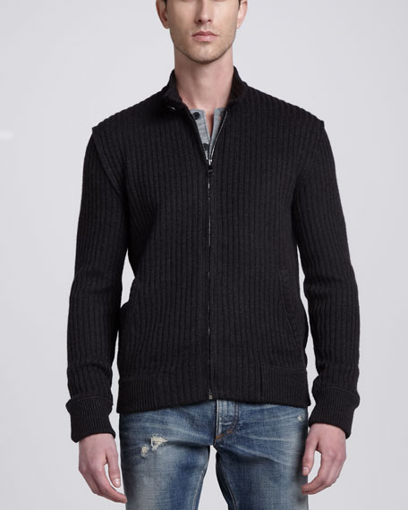 Ribbed Knit Zip-Front Sweater