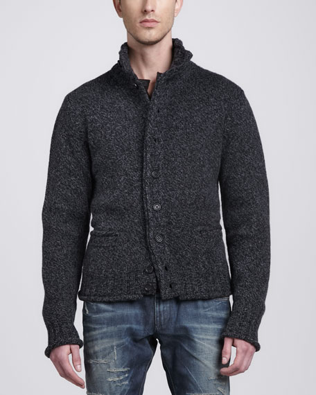 Heathered-Knit Cardigan, Charcoal