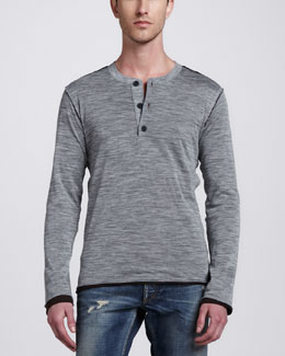 Dolce & Gabbana Double-Layer Long-Sleeve Henley, Gray/Brown