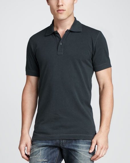 Short-Sleeve Logo Pique Polo, Blue