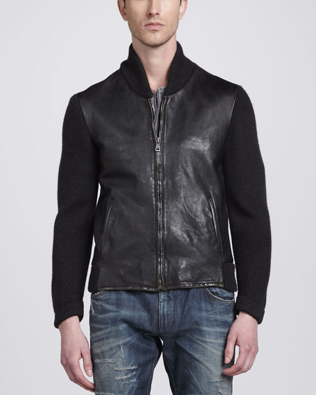 Leather Jacket with Knit Sleeves