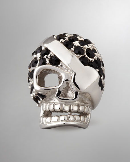 CRYSTAL SKULL LAPEL PIN