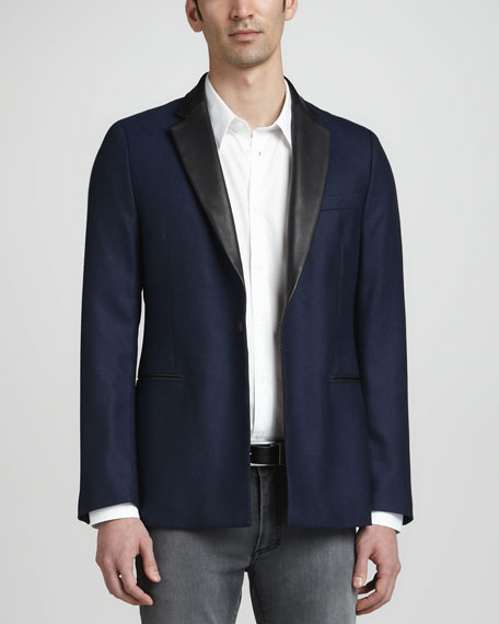 Leather-Collar Blazer, Navy