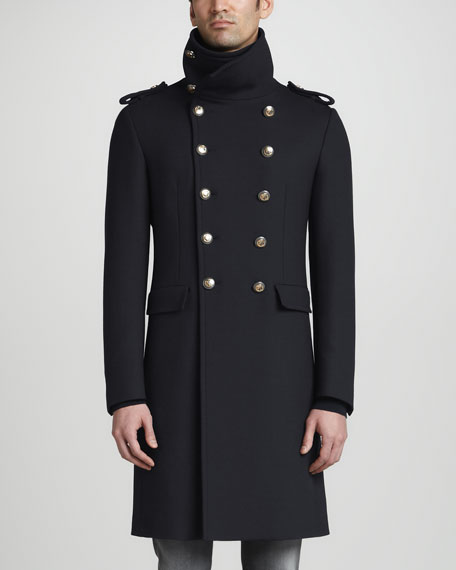 Military Double-Breasted Coat, Black