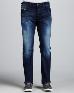 Diesel Fanker Indigo Slightly Distressed Jeans