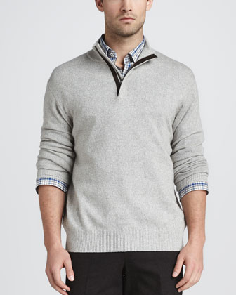 Hidden-Quarter-Zip Knit Sweater