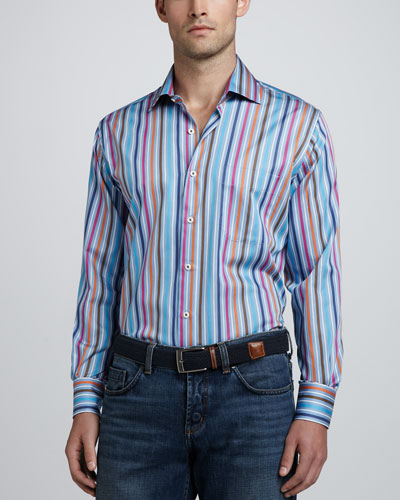 Peter Millar Multi-Stripe Long-Sleeve Shirt
