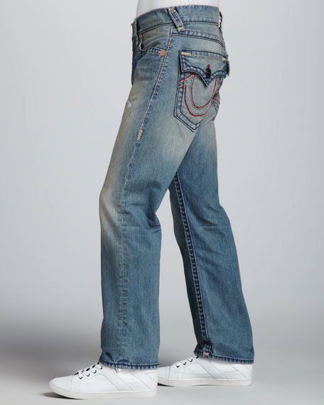 Ricky Straight Super-T Jeans, Light Blue