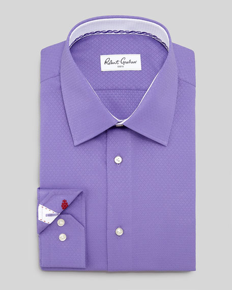 Clark Diamond Jacquard Dress Shirt, Purple