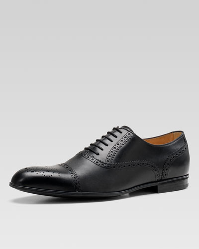 Chiaia Brogue Leather Lace-Up Shoe, Black