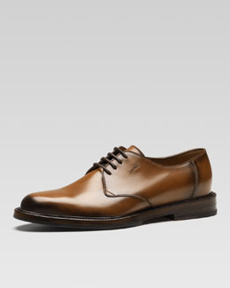 Gucci Ragona Cuir Leather Lace-Up Shoe, Brown